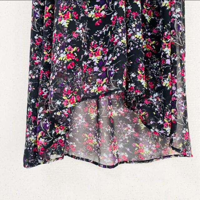 ZARA(ザラ)の小花柄&ウエスト袖フリルが可愛い✨‼️❤️ZARA❤️ロングワンピ レディースのワンピース(ロングワンピース/マキシワンピース)の商品写真
