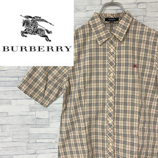 BURBERRY - 【超人気】バーバリー 半袖シャツ ワンポイント刺繍ロゴ ノバチェック S