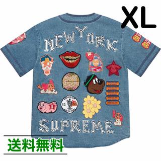 Supreme - 【XL】SUPREME Patches Denim BaseballJersey