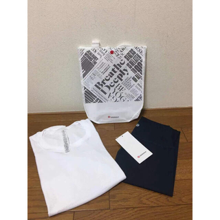 ルルレモン(lululemon)のlululemon ルルレモン 長袖Tシャツ、レギンスのセット (白、グレー)(レギンス/スパッツ)