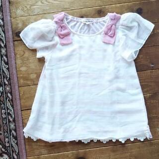 エニィファム(anyFAM)のanyFAM 女の子 トップス 140 ピンク 白色 リボン ボーダー 半袖(Tシャツ/カットソー)
