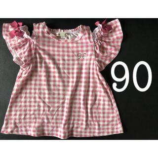 エニィファム(anyFAM)のany FAM  90 ピンク×白 チュニック  2way  オフショルダー(Tシャツ/カットソー)