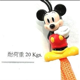 ディズニー(Disney)のミッキーストラップホルダー 蛍光オレンジ 消費税+送料無料300円!(ストラップ/イヤホンジャック)