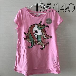 H&M - 135 140 半袖 Tシャツ 女の子 ユニコーン H&M スパンコール