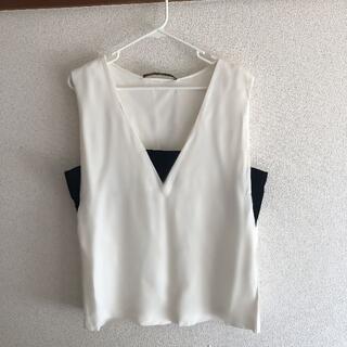 ZARA - 【タイムセール】Tシャツ 無袖 トップス ZARA レディースシンプルなデザイン
