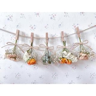 オレンジバラとかすみ草のくすみドライフラワーガーランド♡スワッグ♡ミニブーケ(ドライフラワー)
