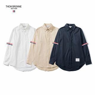 トムブラウン(THOM BROWNE)のThom Browne腕赤白藍条ウェビング男女カップルシャツ(Tシャツ/カットソー(七分/長袖))