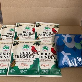 カルディ(KALDI)のカルディ有機バードフレンドリーコロンビアコーヒー エコバッグ(鳥柄)(エコバッグ)
