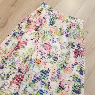 クイーンズコート(QUEENS COURT)のQUEENS COAUT  花柄メッシスカート Sサイズ(ひざ丈スカート)