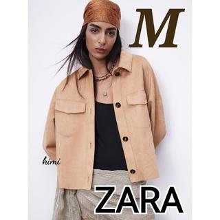 ザラ(ZARA)のZARA (M ベージュ) シャツジャケット クロップド フェイクスエード(その他)