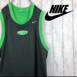 ナイキ(NIKE)のNIKE ナイキ タンクトップ L 緑 リバーシブル 刺繍 バスケ NBA 黒(タンクトップ)