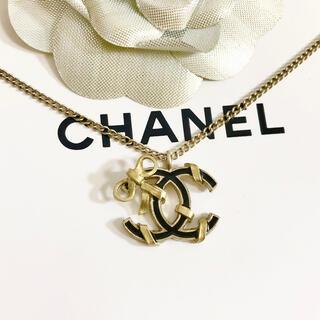 シャネル(CHANEL)の正規品 シャネル ネックレス ゴールド ココマーク リボン ブラック 金 ロゴ(ネックレス)