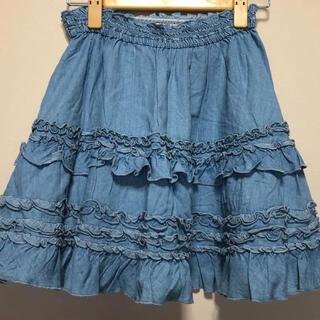 メゾピアノジュニア(mezzo piano junior)のメゾピアノ デニムスカート 150cm(スカート)