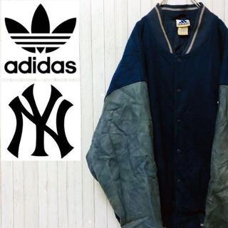 アディダス(adidas)のアディダス ヤンキース スタジャン 万国旗タグ 袖革 ウール ブルー 90s M(スタジャン)