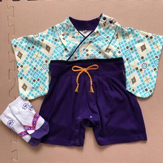 袴ロンパース60と靴下セット(和服/着物)