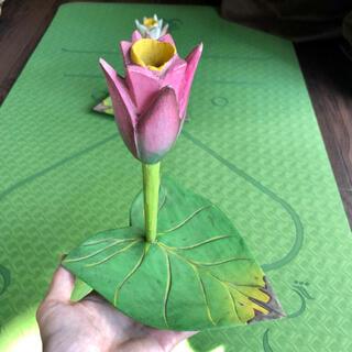 【アメリカ購入⭐︎アンティーク】ロータスの木彫り皿⭐︎ オリエンタル雑貨①桃(インテリア雑貨)