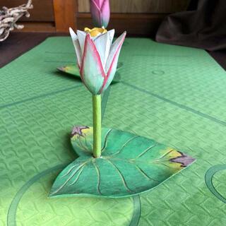【アメリカ購入⭐︎アンティーク】ロータスの木彫り皿⭐︎ オリエンタル雑貨②白(その他)