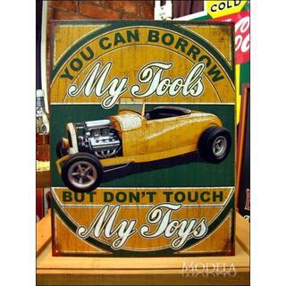 アメリカンブリキ看板 道具は貸すがおもちゃは触るな(パネル)