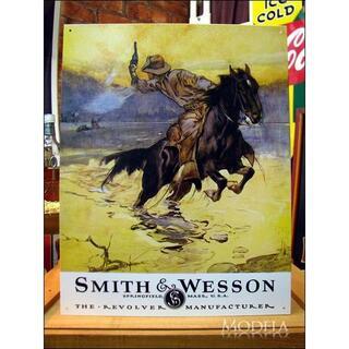 アメリカンブリキ看板 スミス&ウェッソン 馬上の銃撃戦(パネル)