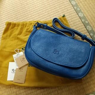 イルビゾンテ(IL BISONTE)の新品 イルビゾンテ 本革 レザー バッグ ショルダーバッグ バンドバッグ ブルー(ショルダーバッグ)