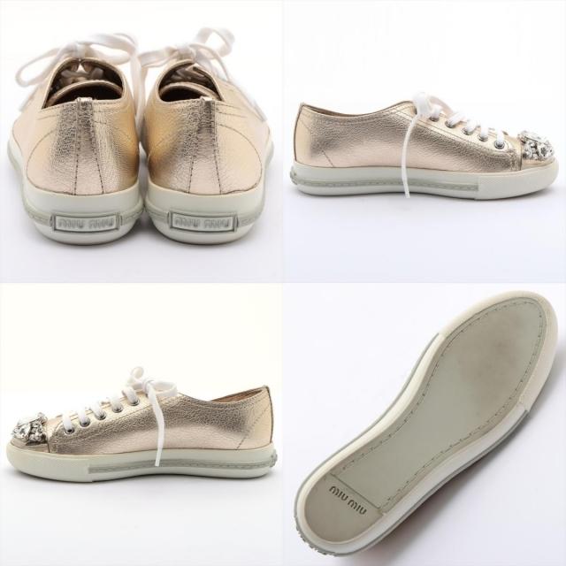 miumiu(ミュウミュウ)のミュウミュウ  レザー  ゴールド レディース スニーカー レディースの靴/シューズ(スニーカー)の商品写真