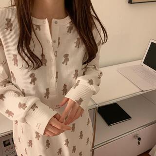 ルームワンピ ルームウェア  韓国ファッション パジャマ  部屋着 レディース