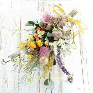 黃バラと紫陽花のスワッグ(ドライフラワー)