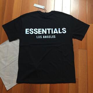 FEAR OF GOD - サイズL黒 反射光りロゴfogessentialsTシャツ