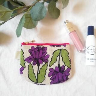 ミニポーチ●紫お花(雑貨)