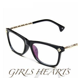 送料無料ブラック黒クロムゴールドクロス十字架メガネ眼鏡めがねクロムハーツ好きに