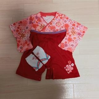 袴ロンパース 靴下つき 女の子 70(和服/着物)