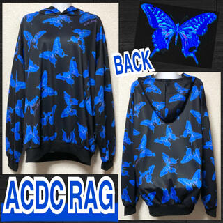 エーシーディーシーラグ(ACDC RAG)の【新品/ACDC RAG】毒バタフライ総柄フーディー/ブルー(パーカー)
