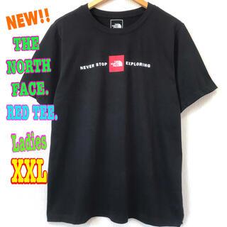 ザノースフェイス(THE NORTH FACE)のレディス ビッグサイズ☆ ノースフェイス RED Tシャツ 黒 XXL ~(Tシャツ(半袖/袖なし))