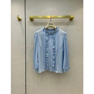 miumiu -  ☆MIUMIU☆フリル付きブルーシャツ レトロ シンプル