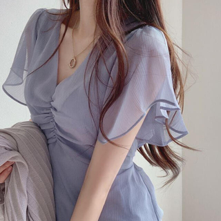 スタイルナンダ(STYLENANDA)の【予約商品】《4カラー》シャーリング シースルー ワンピース 韓国ファッション(ミニワンピース)