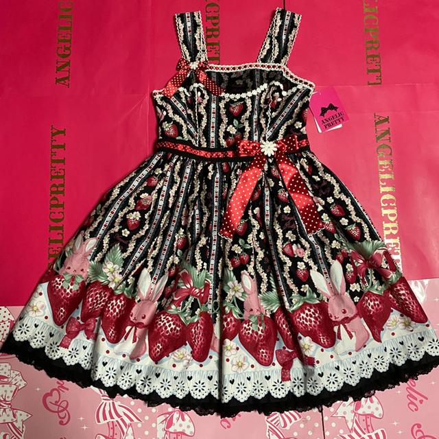 Angelic Pretty(アンジェリックプリティー)のLittle Bunny Strawberryジャンパースカート クロ レディースのワンピース(ひざ丈ワンピース)の商品写真