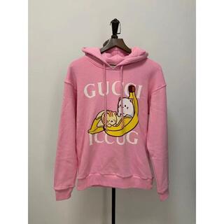 グッチ(Gucci)のGUCCI Bananya オーバーサイズ ロゴ プリント コットン フーディ(パーカー)