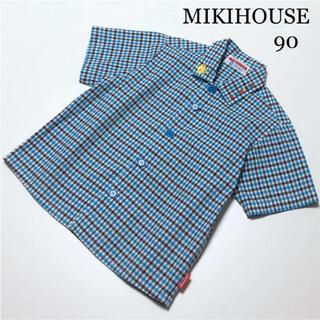 mikihouse - ミキハウス 半袖 チェック シャツ ブラウス 90 春 夏 襟刺繍 ファミリア