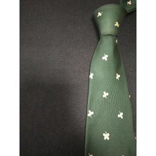 グッチ(Gucci)の【美品】最高級ブランド GUCCI ネクタイ クローバー柄 グリーン 高級シルク(ネクタイ)