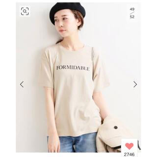 イエナ(IENA)のIENA ロゴプリントTシャツ ベージュ(Tシャツ(半袖/袖なし))