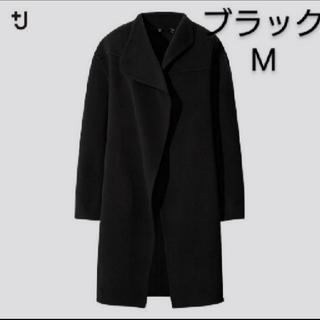 ユニクロ(UNIQLO)のユニクロ ジルサンダー カシミヤブレンドノーカラーコート ブラック M 新品(ノーカラージャケット)