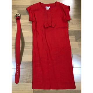 グッチ(Gucci)のグッチ  リネン ワンピース 共ベルト付き 朱赤 2、3回使用(ひざ丈ワンピース)