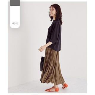 ロペ(ROPE)のROPE' レザー風矢羽プリーツスカート (ロングスカート)