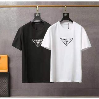PRADA - ★送料込 PRADA/プラダ 男女兼用 クラシックな三角標デザインの丸首tシャツ
