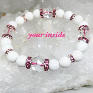 スターカット水晶 ホワイトオニキス 天然石ブレスレット ピンクロンデル(ブレスレット/バングル)