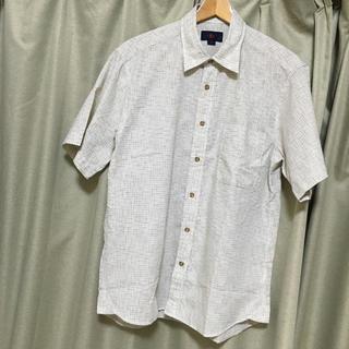 新品メンズサイズLオフホワイトチェック半袖シャツ(シャツ)