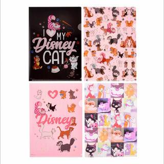 ディズニー(Disney)の<新品>ディズニー猫キャラクター A4クリアファイル 4枚セット(キャラクターグッズ)