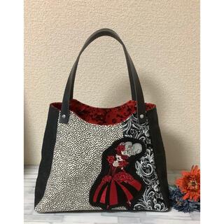 【ロラライハリス 革持ち手 刺繍】マチ広・形が変わる2Wayバッグ