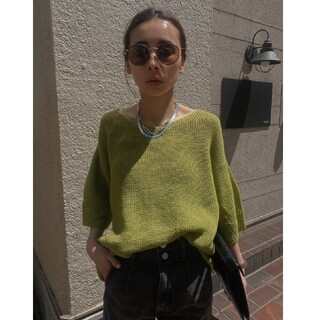 Ameri VINTAGE - AMERI MEDI BACK SHEER KNIT TOP ピスタチオ 新品