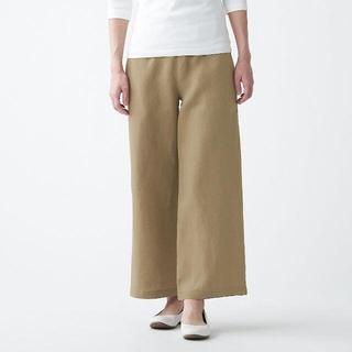 MUJI (無印良品) - 無印良品 フレンチリネンストレートパンツ  婦人M キャメル